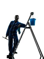 man window cleaner worker silhouette