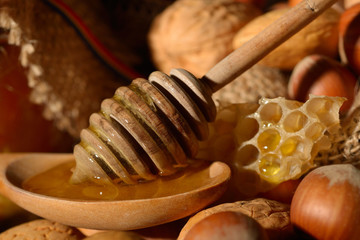 golden honey and shelled fruits