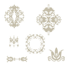 Set of damask patterns elements