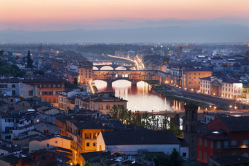 Panorama night Florence. Italy