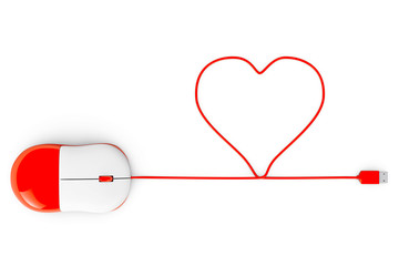 Computer mouse and cables in form of heart on a white