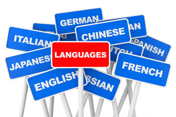 Languages banner signs