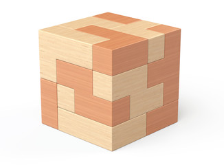 Wooden cube brain teaser game