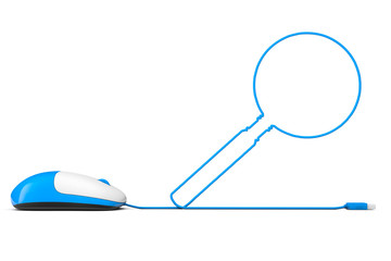 Computer mouse and cables in form of Magnifying Glass
