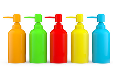 Multicolour bottles for liquid soap with dispenser pump