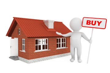 3d Person with Buy Banner and Brick House