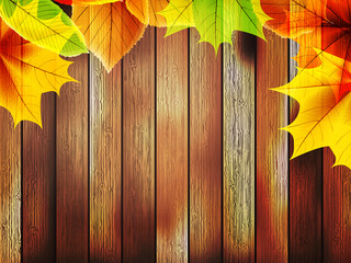 Autumn leaves over old wooden. plus EPS10