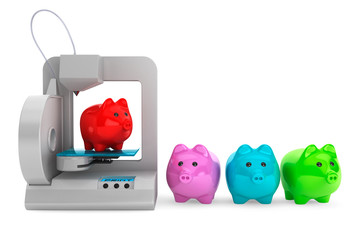 Technology concept. Modern Home 3d printer print Multicolour Pig
