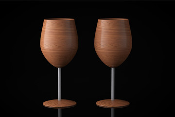 Conceptual Wooden Wine Glasses