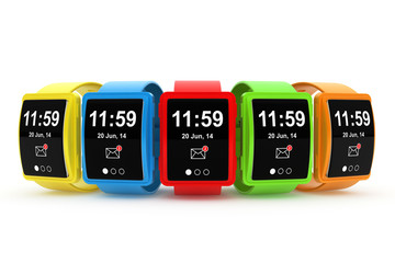 Big conceptual multicolour smart watches