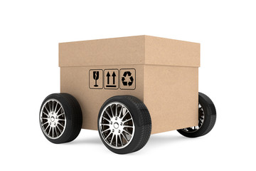 Logistics, Shipping and Delivery concept. Cardboard box with whe