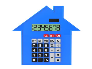 Real Estate Concept. Abstract house with calculator