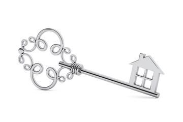 Antique silver door key