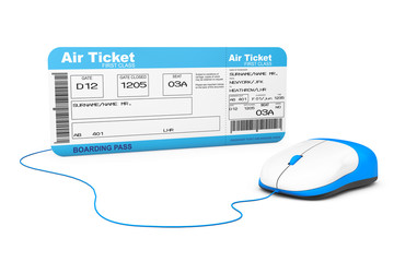 Online booking concept. Airline boarding pass ticket and compute