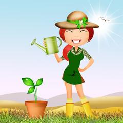 girl does gardening