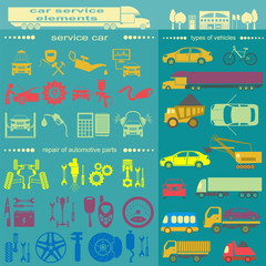 Set of auto repair service elements for creating your own infogr