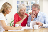 Retired couple with financial advisor