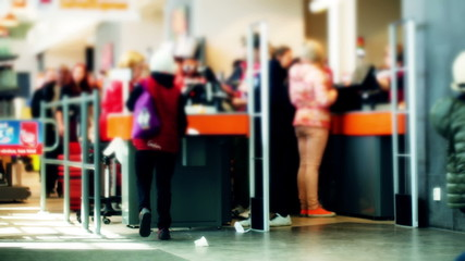 Line at the cashdesks in the supermarket