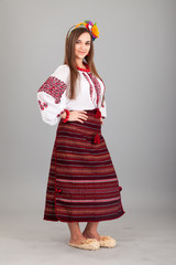 Attractive woman wears Ukrainian national dress