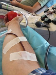 Arm during the blood donation