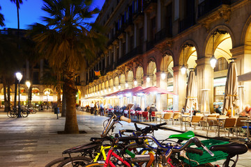 Placa Reial in evening. Barcelona, Catalonia