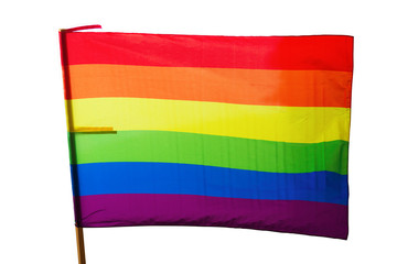 Rainbow flag. Isolated over white