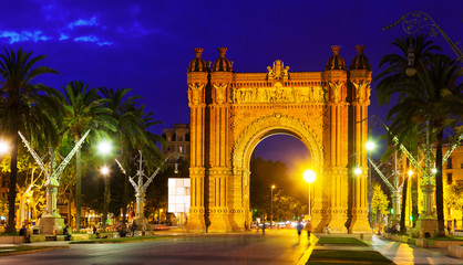 triumphal arch in  night. Barcelona