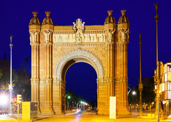 triumphal arch in summer night. Barcelona