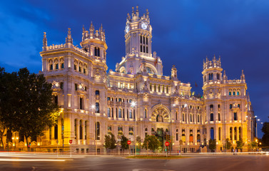 Palacio de Cibeles in summer dusk. Madrid
