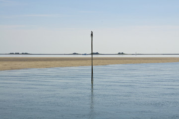 Sandbank or shallows nearby the Hallig Langeness