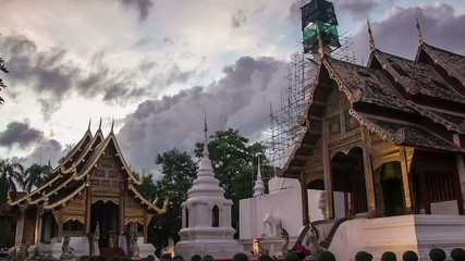 Time lapse day to night  Pra Singha Temple zoom out