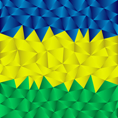 abstract triangular striped background using brazil flag colors