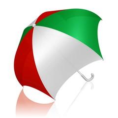 Schirm in den Farben der italienischen Flagge