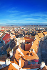 Rows of red roofs in beautiful Sibiu, Romania
