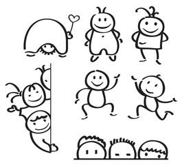 Vector fun  kids cartoons silhouettes.
