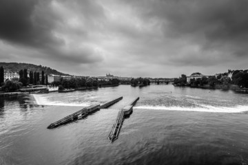 Monochrome photo of Vltava river in Prague,Czech Republic