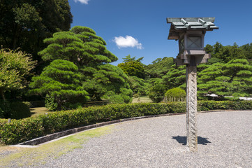 Lantern in the garden of Ise Jingu, Japan