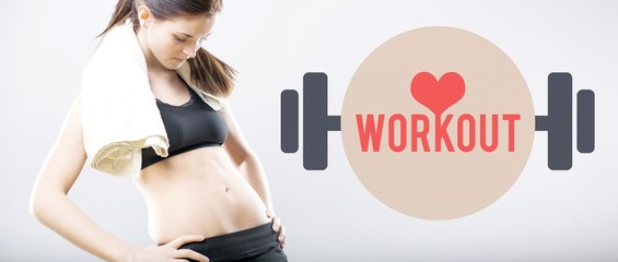 Workout, woman looking at her flat belly