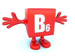 B6 vitamin symbol on red figure