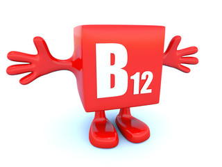 B12 vitamin symbol on red figure