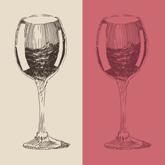 red and white wine glasses vintage illustration, engraved style