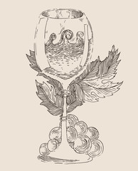 wine glasses vintage illustration, engraved style, hand drawn