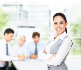 businesswoman smile with colleague