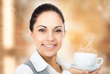 business woman coffee cup with steam