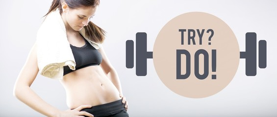 Try do, slim woman looking at flat belly