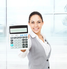 businesswoman hold show calculator