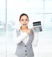 businesswoman hold show calculator point finger