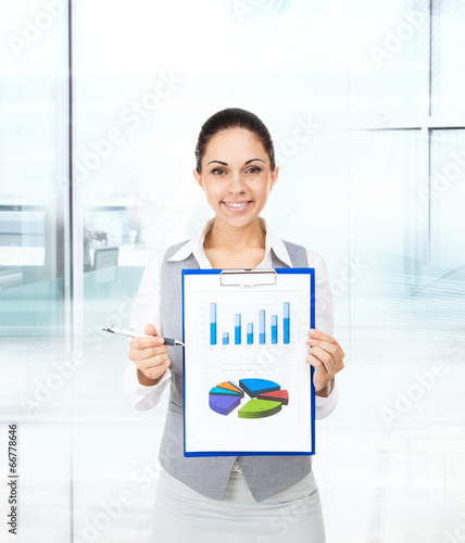 Businesswoman smile hold clipboard document