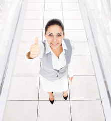 Business woman thumb up gesture