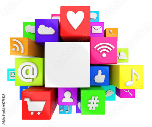 canvas print picture Social media symbols